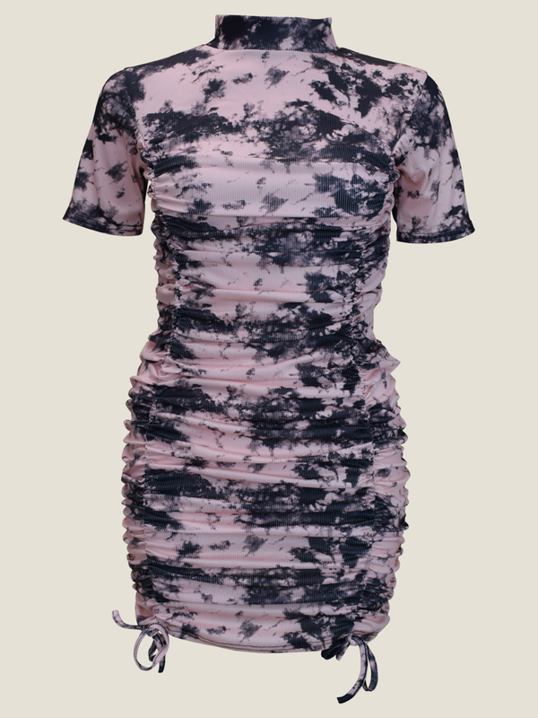 Tie Dye Cap Sleeve Ruched Dress