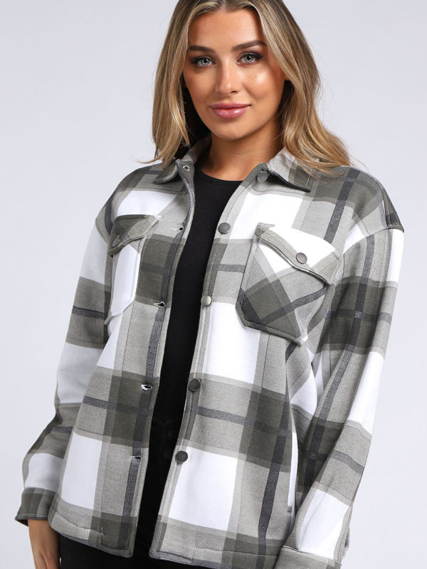 Grey and White Check Coat