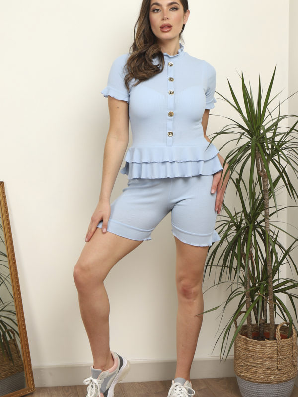 Frill Button Top With Cycle Short